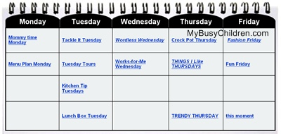 blogging days calendar